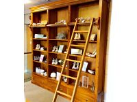 3 Section wooden library cabinet with ladders