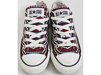 Women's Size 3 Converse Trainers - Maroon, Black and White Aztec Print
