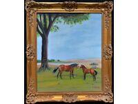 Paul R. Pitt (1951-2012) Primitive Folk Art Style Equestrian Horse Oil Painting'
