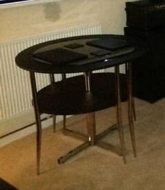 Black Glass Round Dining Table & 2 Nested Chairs