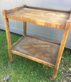 Vintage wooden two tier tea trolly