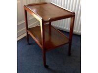 MID CENTURY/RETOR/60S 2 TEAR TEAK HOSTESS TROLLY/TABLE WITH CASTERS