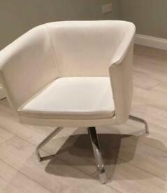 REAL LEATHER Swivel Armchair Dining Chair x2