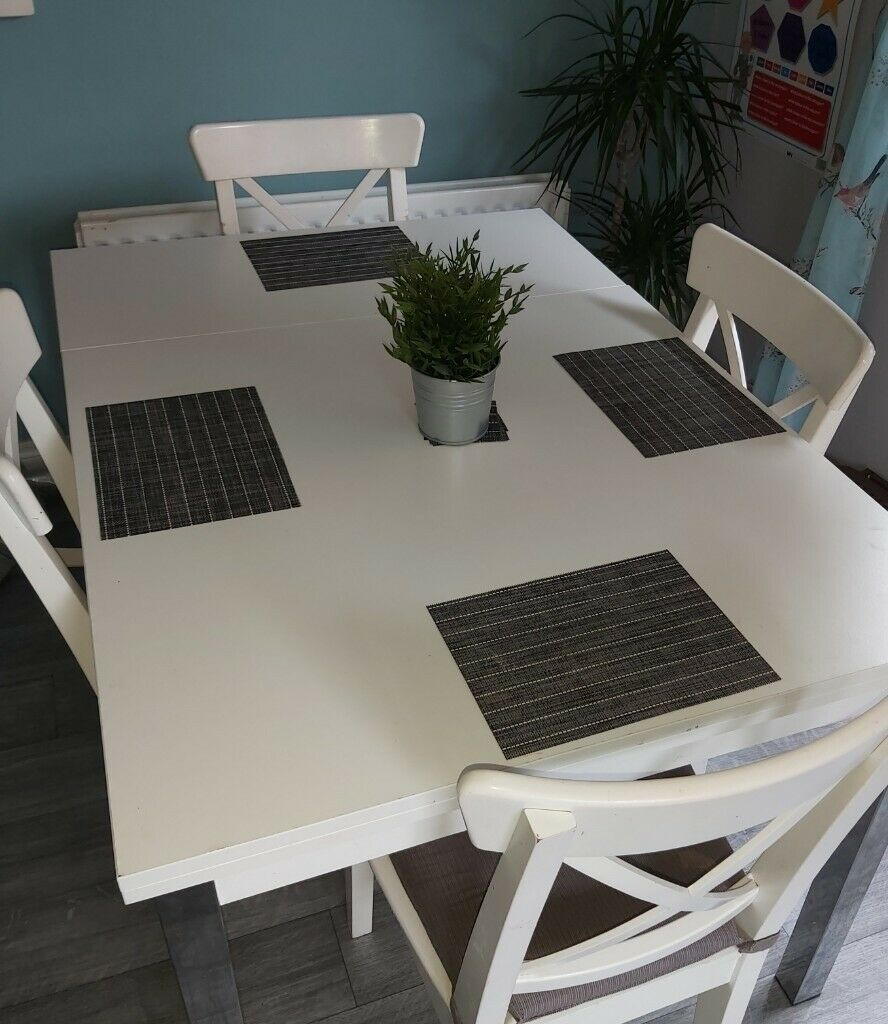White dining table with 4 Ikea Chairs | in Newtownabbey ...