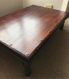 Large Real Wood Table Brown