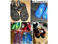 boys shoes size 9-11, wellies 13, football boots size 2 ,have up to adult size 6