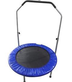 Indoor exercise trampoline with handle