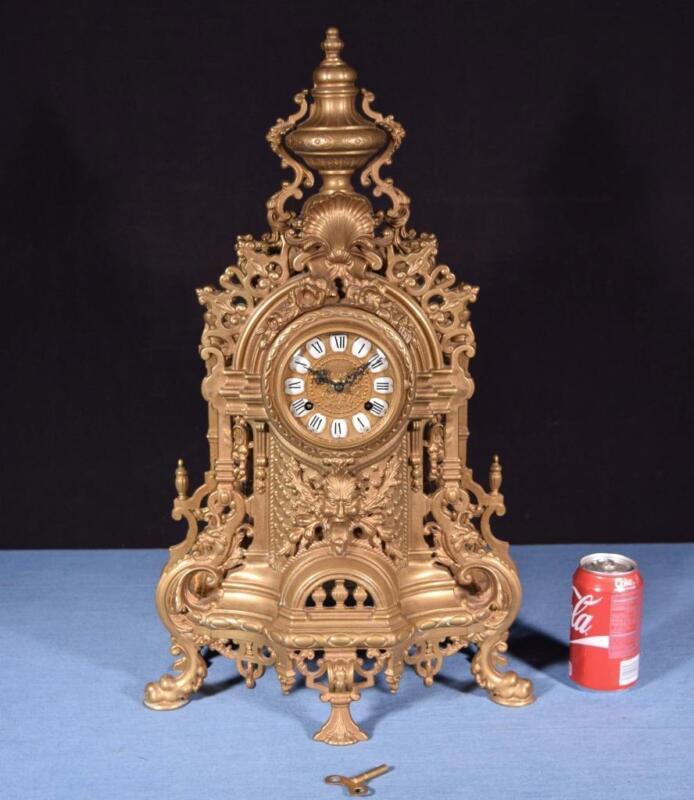 *Vintage Bronze Neo Gothic Mantel Clock with Hermle/FHS Clockworks
