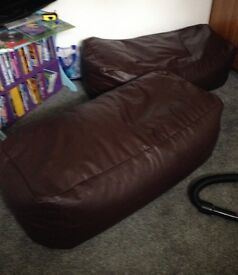 2 x faux leather bean bags