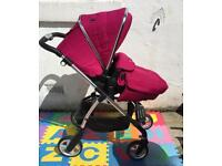 *Reduced* Silver Cross Wayfarer 3 in 1 Travel/Pram Set - Raspberry. Car Seat Included