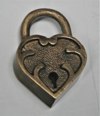 Heart Lock Key - Solid Brass - Small Ornate Heart Shaped Lock - 2 Keys Works - Keep Sake Lock