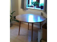 Mid-century style round circular extendable fold down dining room table teal wood wooden