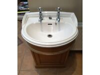 Heritage Bathrooms Dorchester Medium Vanity Unit Oak Basin