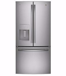 Réfrigérateur 33'', Congélateur en bas, Portes françaises, Stainless, GE Profile
