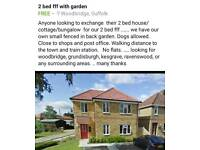 2 bed flat woodbridge swap for 2 bed house only