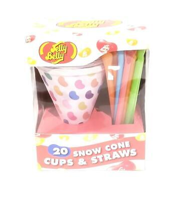 New Jelly Belly 20 Snow Cone Cups Straws - 6 Oz. - Easy Scoop Straws - Nwt