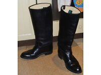 RIDING BOOTS;BLACK LEATHER;SIZE 7 - 8