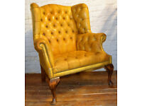 Chesterfield yellow Queen Anne wingback armchair vintage chairs leather antique seating club lounge