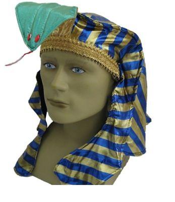 Blue Gold Pharaoh Hat King Tut Egyptian Roman Greek Men Costume Accessory Easter](Egyptian Pharaoh Hat)