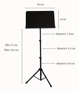 Music Stand adjustable Metal Sheet Tripod Holder Black iMS911