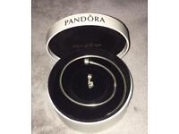 Genuine Pandora Necklace With Pandora Interlocking Heart Charm Pendant