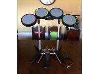 Xbox 360 rockband drum kit sticks pedal boxed leads