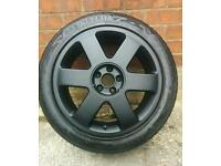 "Genuine Audi TT / S3 alloy wheels & tyres / 5x100 / 17"" / matte black / VW Golf MK5 / Seat / Skoda"