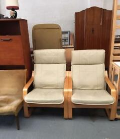 ** CREAM LEATHER CHAIRS **