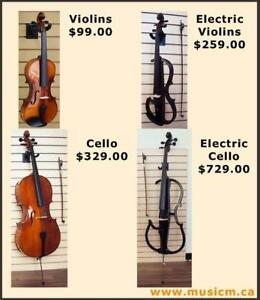Violins, Violas, Cellos All Sizes, Electric Violins, Electric Violas, Electric Cellos www.musicm.ca Brand New Warranty