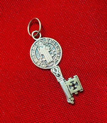 ✞ COLGANTE LLAVE DE SAN BENITO 3 cm. Plata de Ley 925...