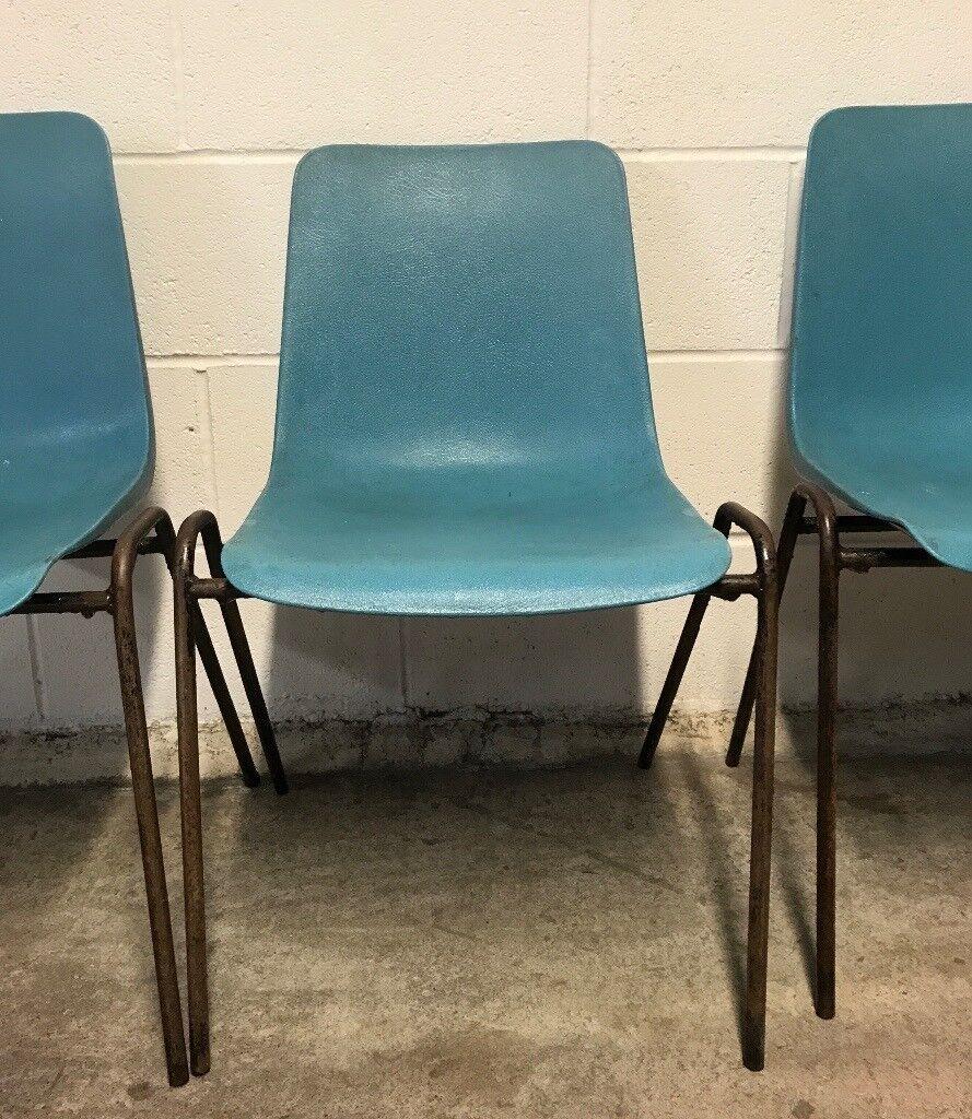 plastic metal chairs. X 6 Vintage Retro 1970\u0027s \u0027REMPLOY\u0027 Industrial Turquoise Plastic \u0026 Metal Stacking School Chairs