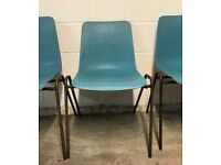 X 6 Vintage retro 1970's 'REMPLOY' industrial turquoise plastic & metal stacking school chairs x 6