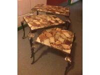 Marble topped nest of tables,