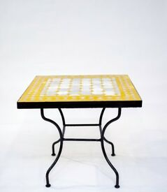 Yellow Side Table Zellige Mosaic Garden Balcony Mediterranean Moroccan 50 by 50, 45cm H