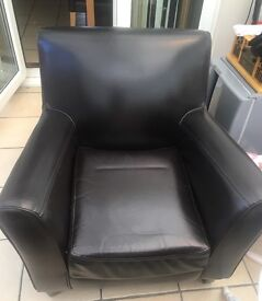 Leather dark brown tub chair