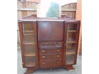 art deco vintage retro dark oak bureau bookcase
