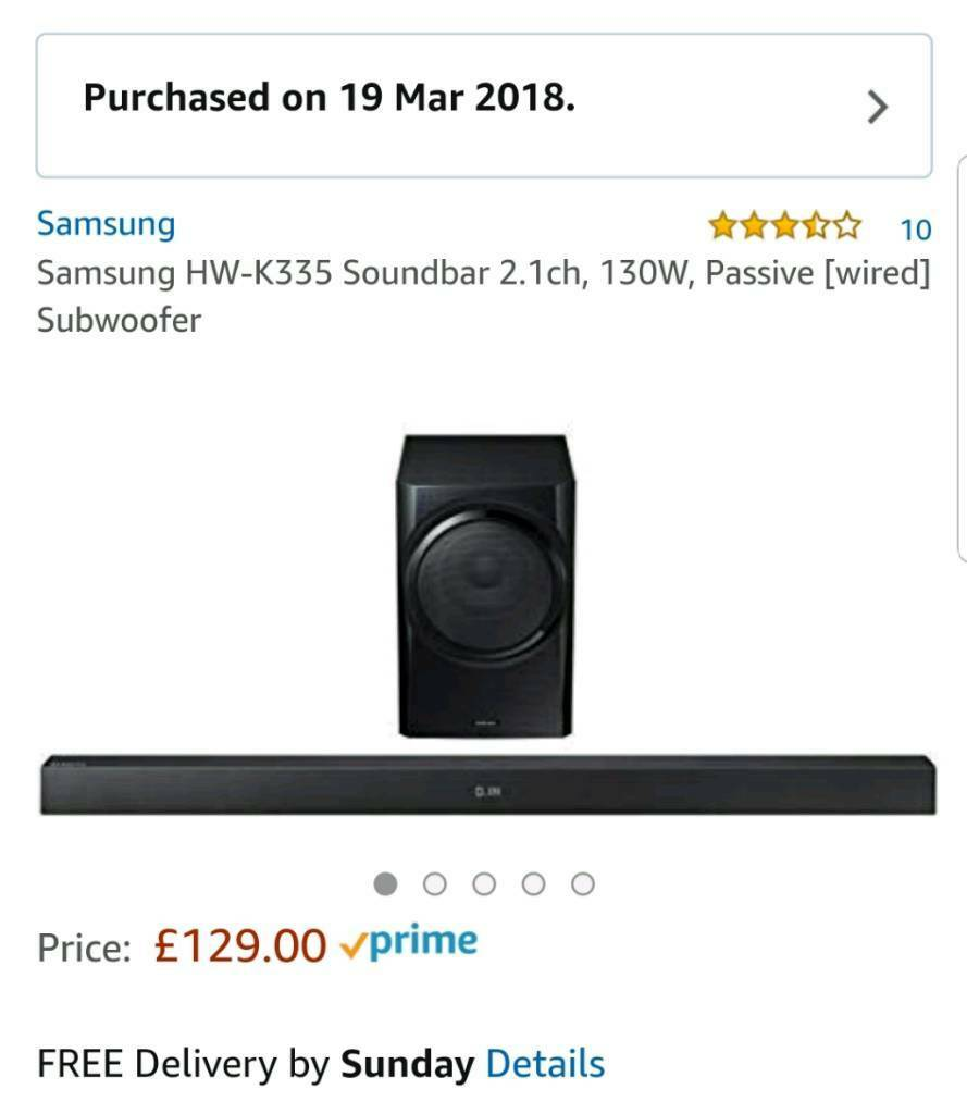 Samsung Hw K335 Soundbar 21ch 130w Passive Wired Subwoofer In Difference Between Series And Parallel Wiring Subwoofers