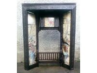 AN ATTRACTIVE , ORIGINAL LATE VICTORIAN, CAST IRON & TILED FIRE INSERT.