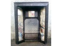 AN ATTRACTIVE , LATE VICTORIAN, CAST IRON & TILED FIRE INSERT.
