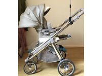 Pram Used but in really good condition Bebecar Special Ip-Op Classic XL - Chrome/Cafe au lait x