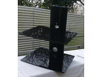 Black glass floating shelf