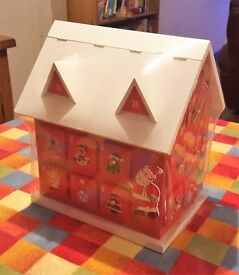 Wooden Cottage/House Advent Calendar (Brand New/Sealed with a damaged roof as pictured)