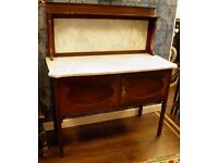STUNNING EDWARDIAN MAHOGANY & MARBLE WASH STAND - WE CAN DELIVER