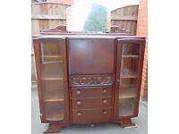 art deco vintage retro dark oak bureau bookcase
