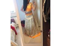 Beautiful orange and gold Indian lengha