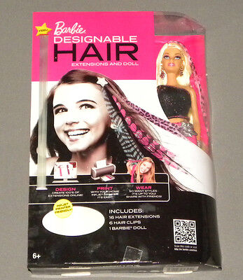 2011 Mattel Barbie Doll W Printable Designable Wearable Hair Extensions