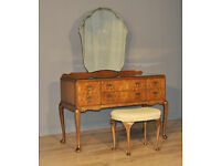 Attractive Vintage Beithcraft Queen Anne Style Burr Walnut Dressing Table, Stool