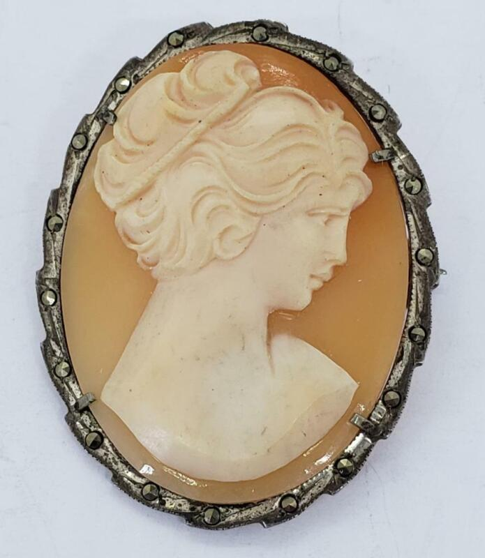 Vintage Cameo Marcasite Silver Carved Shell Lady Brooch Pin Pendant