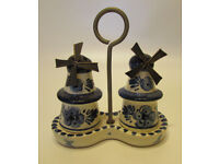 Very decorative signed Delft Windmill Salt and Pepper Shakers set