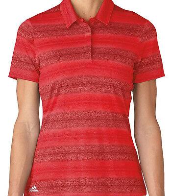 Adidas Mujer Melange Rayas Golf Polo (S) Rojo AE9334